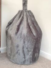 COVER ONLY ADULT SILVER FOX BEAN BAG FAUX FUR LARGE 6 CFT SIZE LUXURIOUS BEANIE