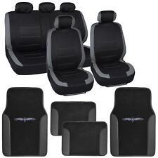 Black & Gray Car Seat Covers w/ Split Bench & Black Two Tone Carpet Floor Mats