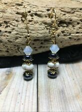 Handmade White Howlite Stone 14k Gold Plated Earrings W/Swarovski Elements Usa
