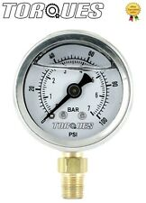 "Torques Analog Pressure Gauge Bottom Fed 1/8"" NPT 0-7 BAR/0-100 PSI Fluid Filled"