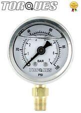 """Torques Analog Pressure Gauge Bottom Fed 1/8"""" NPT 0-7 BAR/0-100 PSI Fluid Filled"""