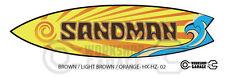 Holden HX / HZ SANDMAN Surfboard Shaped Sticker - Brown Text 02