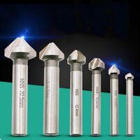 6PCS/set 90 Degree HSS Three-blade Plated Chamfering Drill Bit  S8