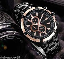 Montre Sport Luxe Curren Neuve Homme Bracelet Métal Noir Fashion watch PROMO
