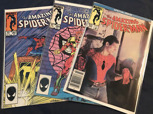 Lot Of 3 Amazing Spider-Man Comics 262, 264, 267 (1984) Photo Cover VERY FINE VF
