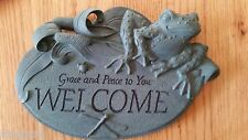 Frog Garden Plaque - Welcome Grace and Peace to You