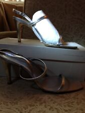 NEW Martinez Valero Heels Silver Leather Strappy 7M!