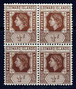 LEEWARD ISLANDS QE II 1954 ½d. Brown BLOCK WITH LOOP FLAW SG 126a MNH
