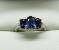 Very Lovely Silver And Kyanite Three Stone Ring Size O