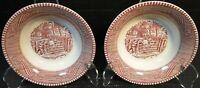 Royal China Currier Ives Pink Berry Bowls Fruit Dessert Red Set of 2 Excellent