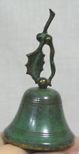 Vtg Metal Bell with Holly Leaf and Berry Handle Holiday Bell 1950s