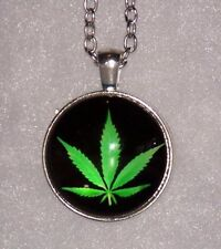 Silver Necklace WEED MARIJUANA GRASS Pendant women men chain key Free $10 GIFT