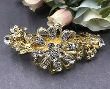 Gold tone with silver rhinestone crystal hair barrettes metal hair clip ha3070g