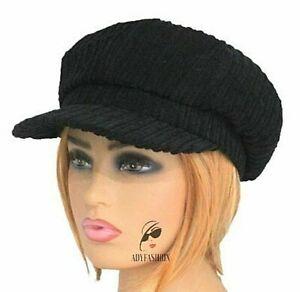 BLACK Corduroy Ladies Women's Cord Baker Boy Hat Quality Fashion Newsboy Cap