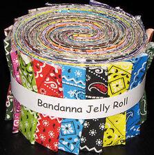 "Bandanna Rainbow Multi Color Jelly Roll 17 Cotton Fabric Strips 2.5"" Wide X 44"""