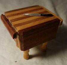 Vintage Dollhouse Furniture Butcher's Block Kitchen Island with Knife