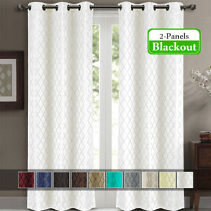 """2 Panels 42x96"""" Willow Jacquard Thermal Insulated Blackout Drapes & Curtains"""