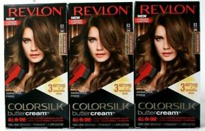 (3) Revlon Colorsilk Buttercream Hair Color 63 54G Light Golden Brown All In One