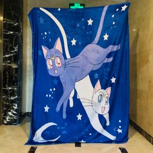 Sailor Moon blue Blanket Throw Sofa Blankets fuzzy quilt 100x150cm