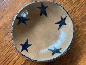 "Primitive Redware Bowl by Denise Myers - Star Decoration - 7"" D"
