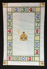 Miniature Dollhouse machine embroidered ready made rug on cotton.