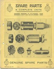 Singer Senior 4-Cyl 1929 & Light Six 6-Cyl 1930 Lucas CAV Rotax Spare Parts List