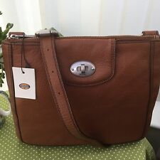 LOVELY FOSSIL MARLOW CHESTNUT  LEATHER CROSSBODY/ SHOULDER  BAG BNWT