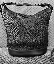 Falor Woven Black Leather Bucket Sh