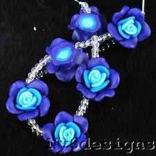 25x25x12mm Blue Synthetic Rose Beads 6pcs (BPD78)a