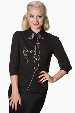 Dancing Days Snow Bird Shirt Blouse Black S