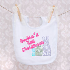 Personalised Baby Bib - First Christmas with Name