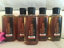 5 Bath & Body Works Dark Amber FOR MEN Body Wash Shower Gel + Hair! Hard To Find