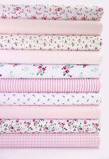 """Fabric Bundle Pink 10 Fat Quarters Polycotton Craft Material Floral 21"""" 55cm"""