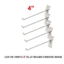 "4"" Slatwall Slatgrid Panel Display Metal Hook Peg Hanger Chrome Lot of 100 New"