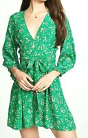 NWT Faithfull The Brand Audrey Margot Floral Mini Dress Green Sz 8 Large