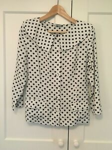 Vintage White Polka Dot Blouse with Dramatic Collar and Covered Buttons