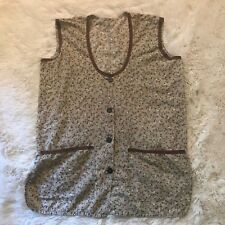 Vintage 1970s Grey Floral Smock Top Sleeveless Size Medium Handmade