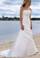 New White/Ivory Taffeta Wedding Dress Bridal Gown Stock Size:6/8/10/12/14/16/18