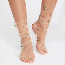 Sexy Women Glitter Star Socks Transparent Elastic Sheer Ankle Clear Soft Pretty