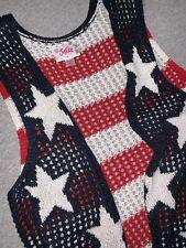Justice Girls Size Medium Sweater Vest Red White Blue Patriotic EUC
