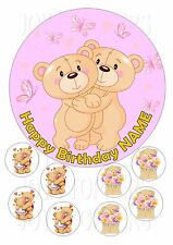 GIRLS BIRTHDAY CAKE TOPPER ROUND EDIBLE ICED ICING FROSTING + 8 CUPCAKE TOPPERS