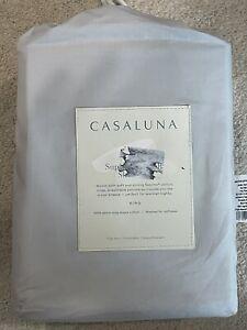 Casaluna Washed Supima Percale Solid KING Sheet Set - Gray