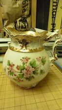 VERY OLD Haynes Corsican Balt pottery Chamber Pitcher Pot Floral