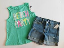 NWT GAP Girl 2 Pc Set Tank Top/Denim Shorts Adjustable Waist XS(4-5) New