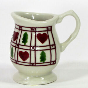Hartstone Pottery HEARTS & TREES 4oz Mini Pedestal Creamer Pines Lattice Vintage