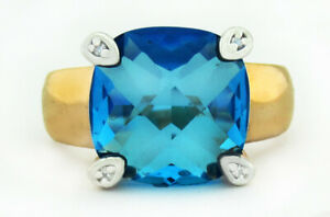 BLUE TOPAZ  6.87 Cts & WHITE SAPPHIRES RING 14K ROSE GOLD PLATED *NWT* Size 7