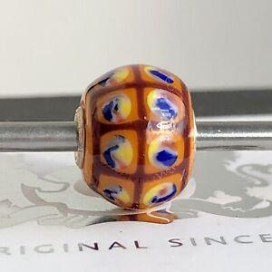 Trollbeads Rare Limited Edition Orange Mini Barrel Glass Bead