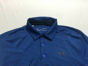 Under Armour Men's Performance Golf Polo Shirt Loose Size Small Heat gear Blue