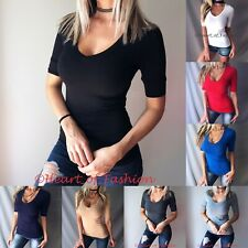 Women's Basic Half Sleeve Fitted Slimming Stretch Casual V-Neck Top Shirt Tee
