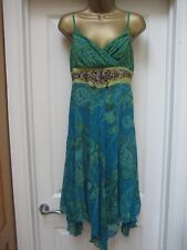 KAREN MILLEN DRESS SIZE 12 BEADED SILK STUNNING OCCASION BOHO FLAPPER HIPPIE